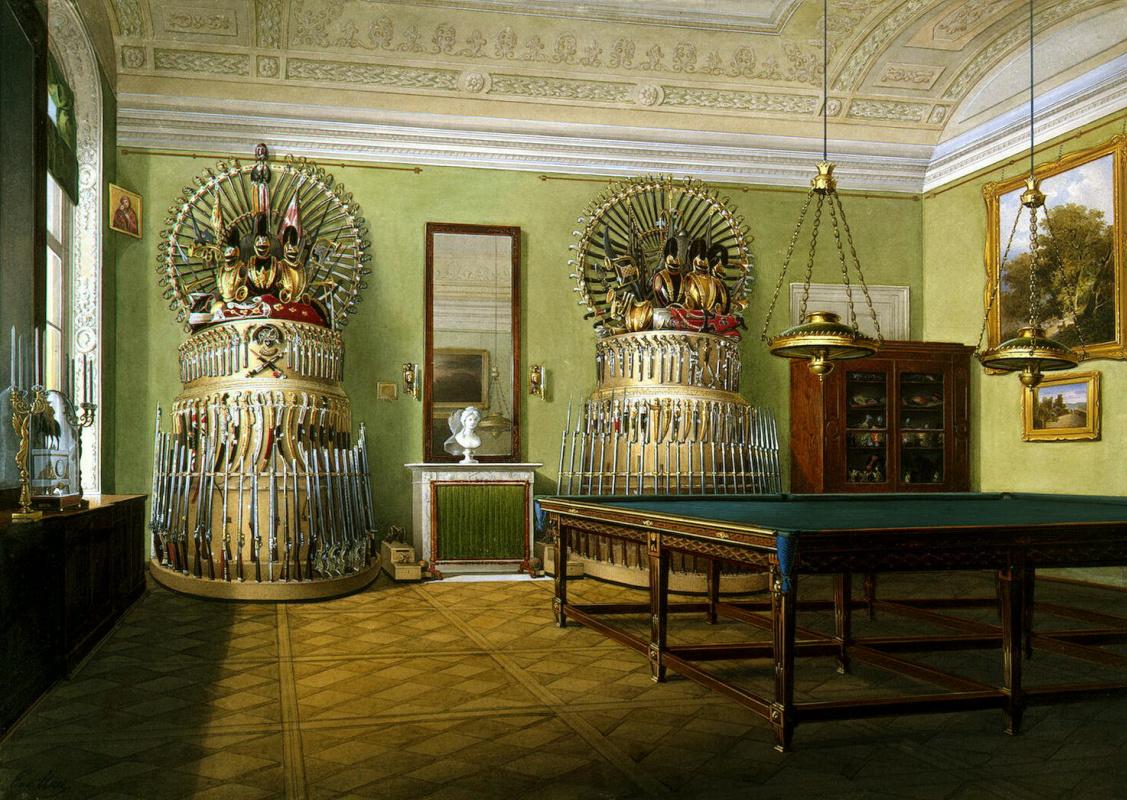 Эдуард Петрович Гау. Виды залов Зимнего дворца. Бильярдная императора Александра II