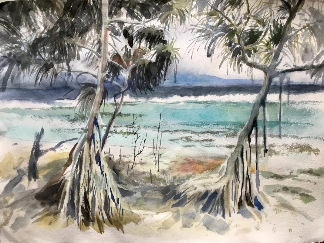 Anastasia Volkova. Trees with legs on the seashore