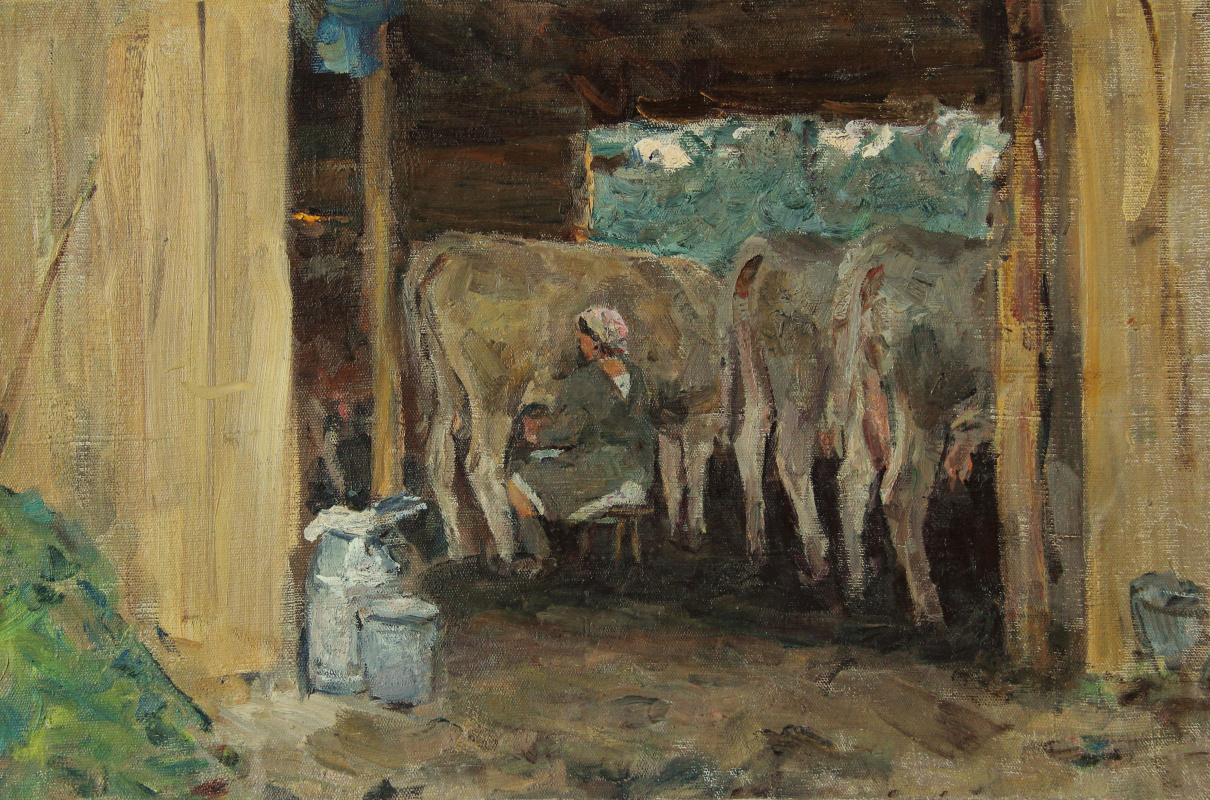 Vladimir Georgievich Gremitskykh. Milking