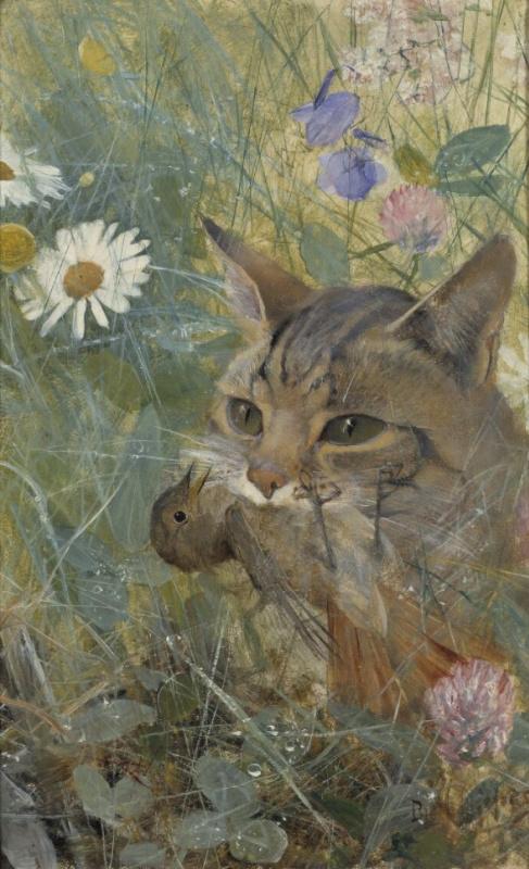 Бруно Лильефорс. Кошка с птицей