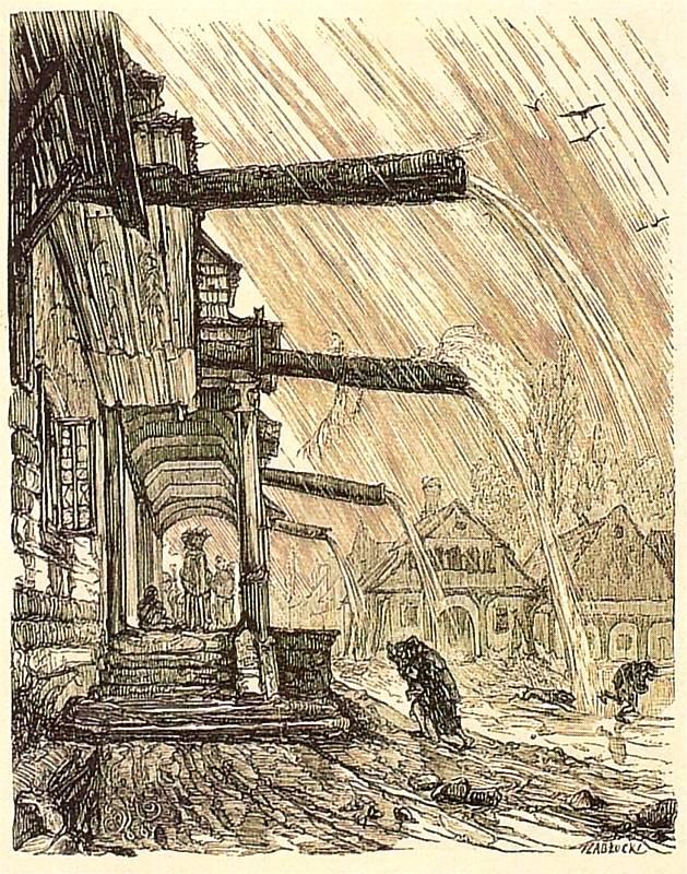Jan Matejko. Wooden houses in Vishnich in the rain