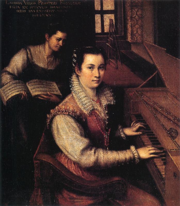 Lavinia Fontana. Self-portrait with clavichord and maid