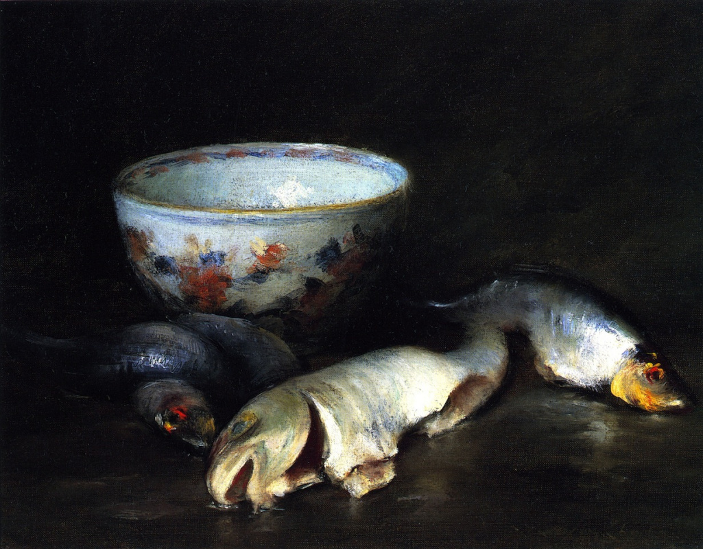 William Merritt Chase. Still life with fish and bowl