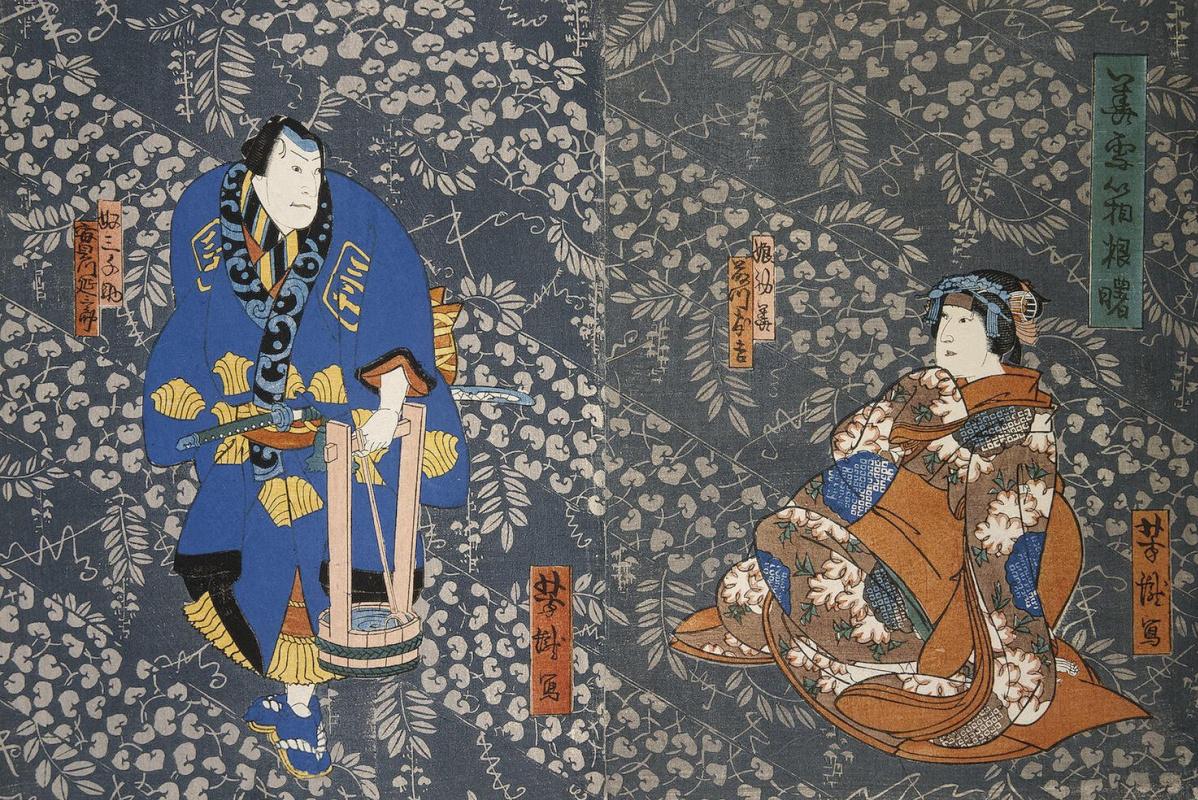 Итиётэй Ёситаки. Диптих Актеры Фудзикава Томокити III и Дзицукава Энсабуро