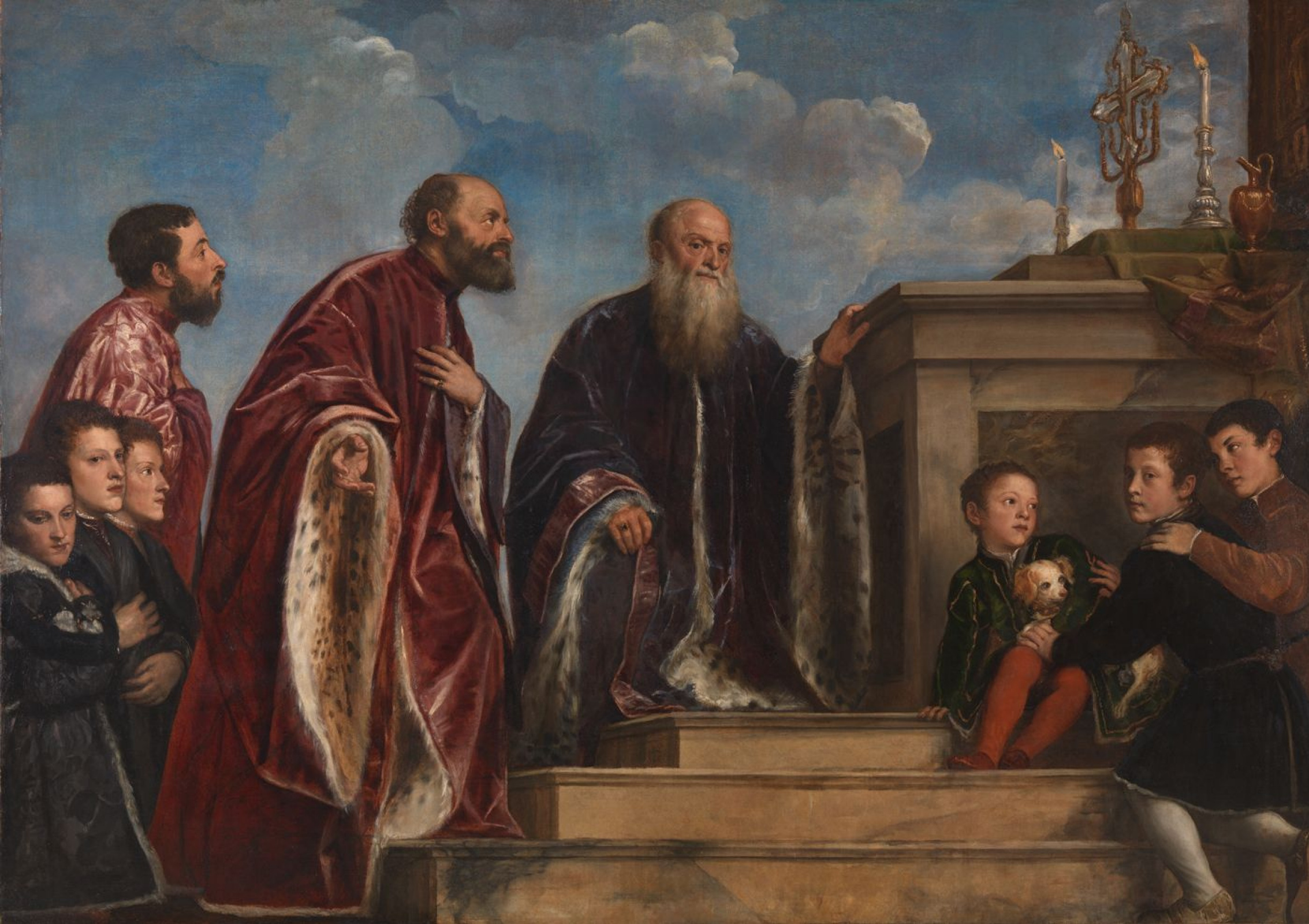 Titian Vecelli. The Vendramin family worships the remnants of the True cross