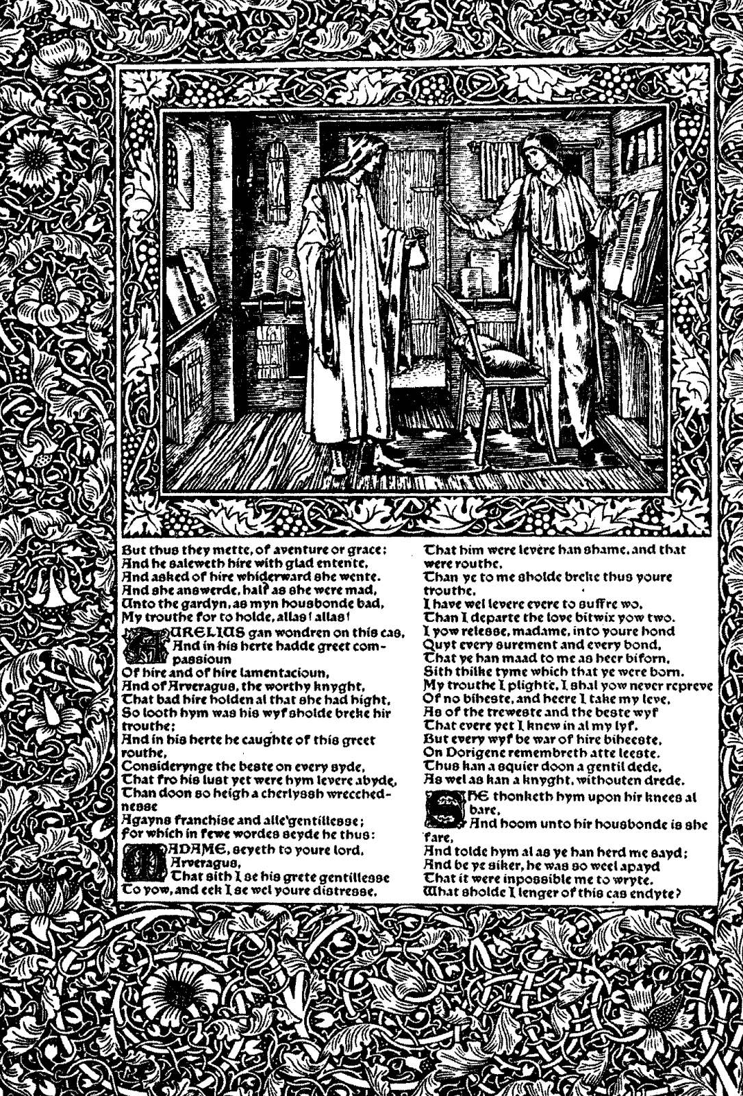William Morris.  Presse Kelmskott.  Le design de la collection de Geoffrey Chaucer