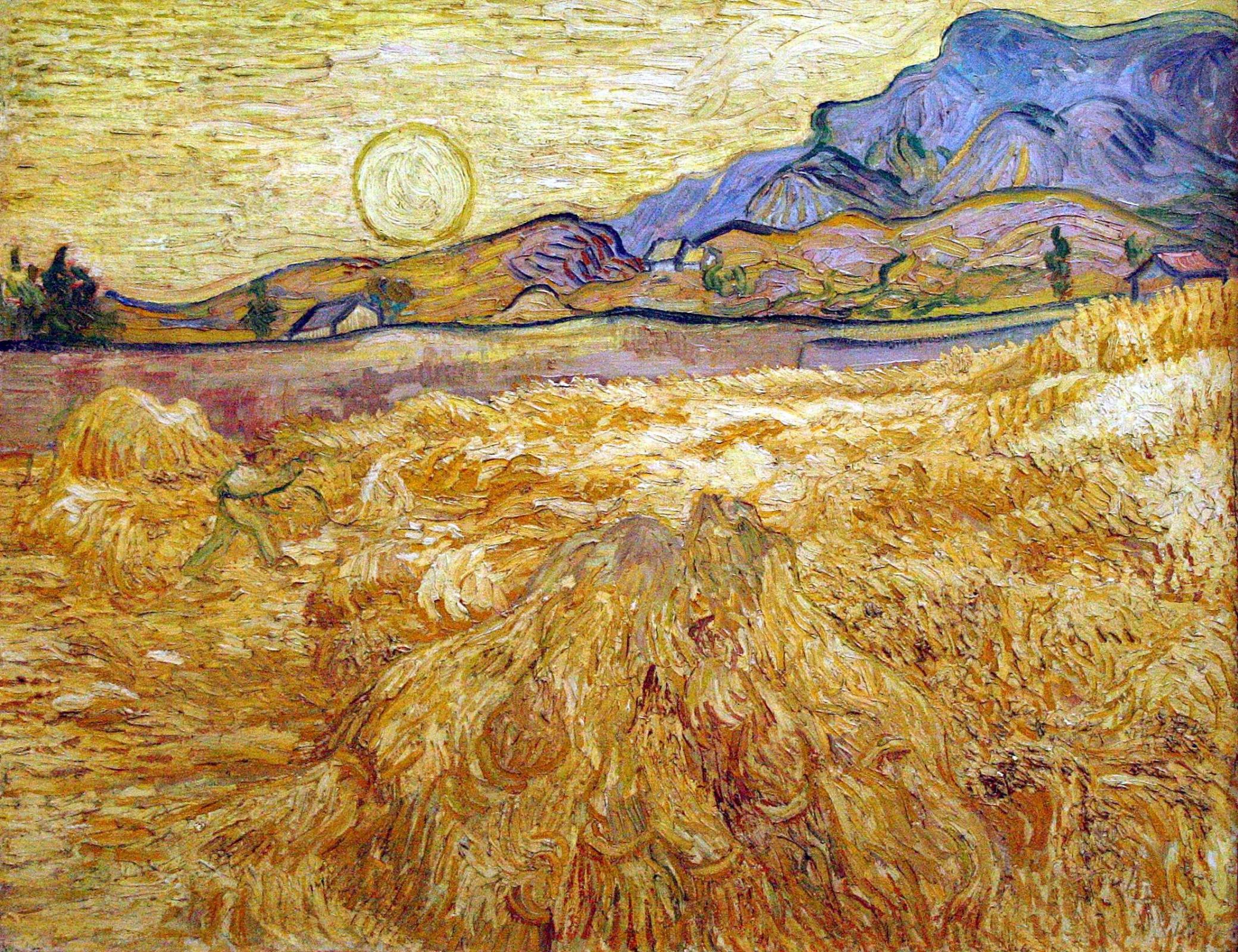 Винсент Ван Гог. Пшеничное поле с жнецом и солнцем