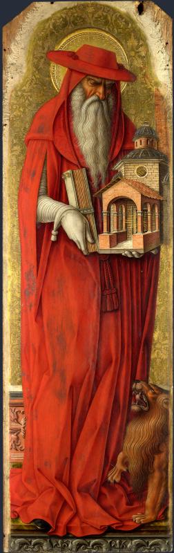 Карло Кривелли. Святой Иероним. Алтарь св. Петра Мученика, полиптих, левая внутренняя створка