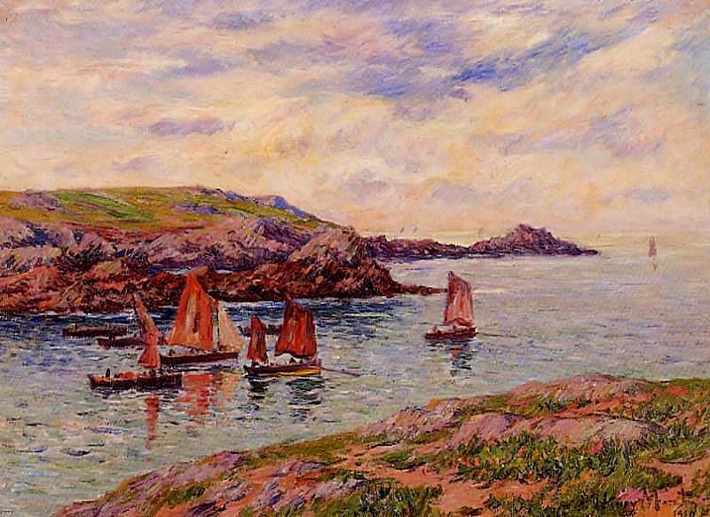 Henry Moret. Boats on the river finistère
