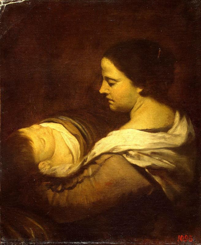 Мать со спящим ребенком