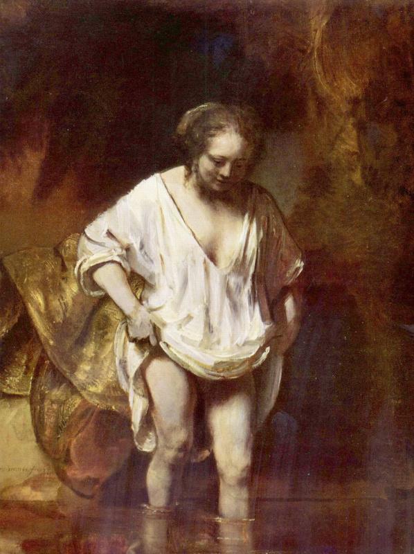 Rembrandt Harmenszoon van Rijn. Woman bathing in a stream (Hendrickje Stoffels?)