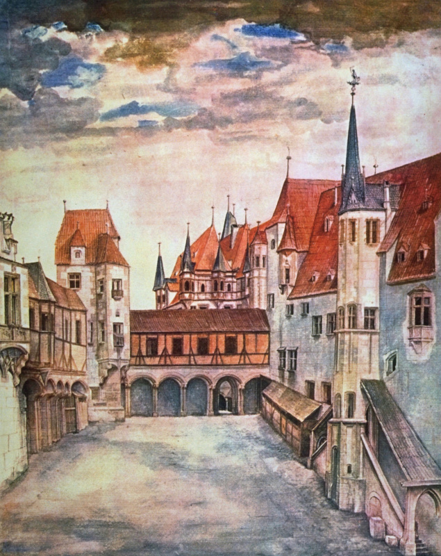 Двор  замка в Инсбруке с облаками
