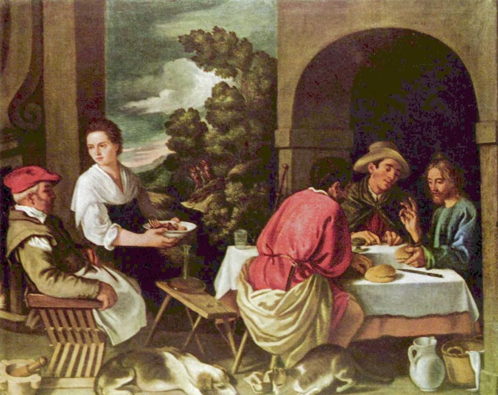 Pedro de Orrente. Christ and apostles at Emmaus