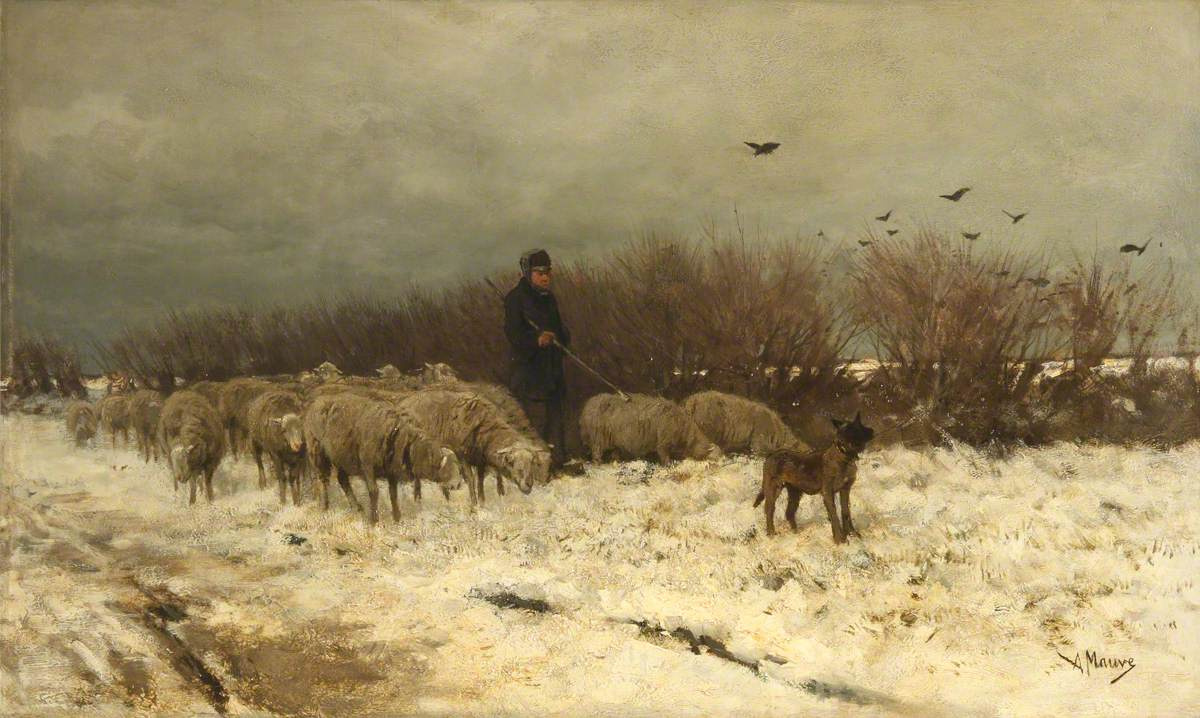 Anton Maouve. Sheep in the snow