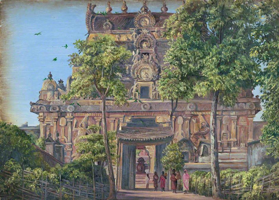 Marianna North. Gate of Tanjore Temple with the Great Bull Standing Up, Tamil Nadu, India