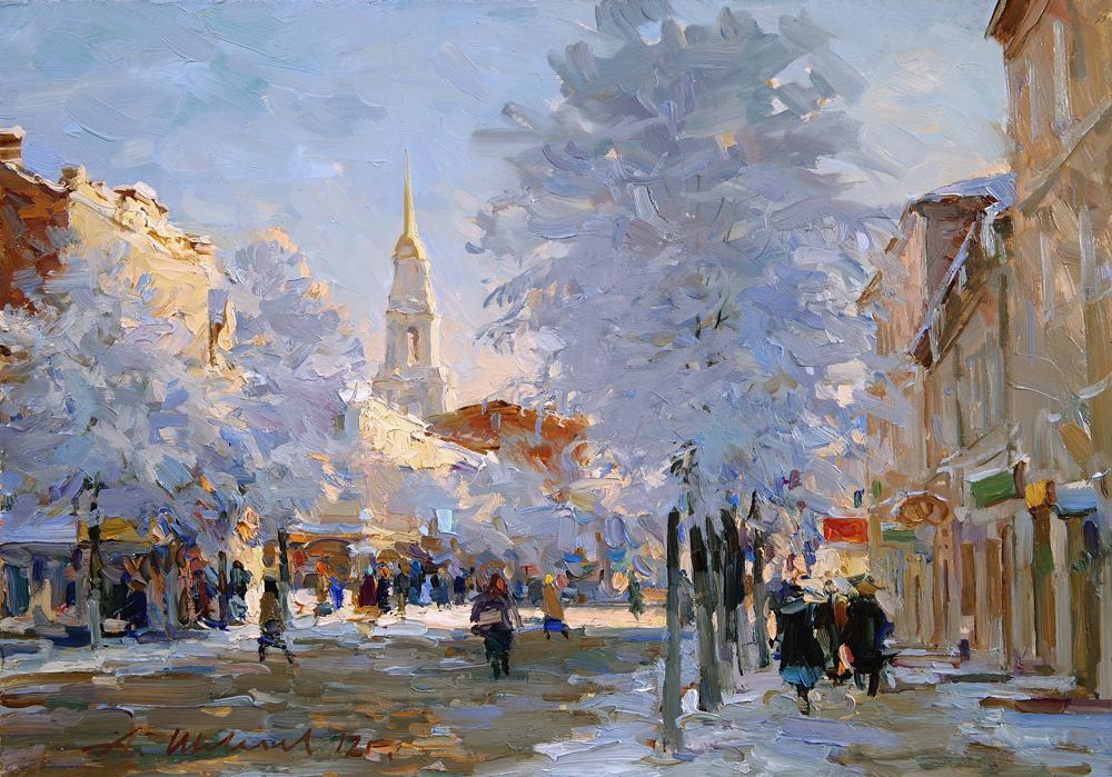 Alexander Victorovich Shevelyov. Winter in Rybinsk.Oil on canvas 29,3 # 41,5 cm 2012