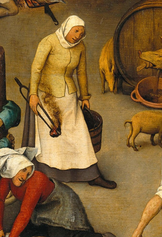 Pieter Bruegel The Elder. Flemish proverbs. Fragment: Carry a fire in one hand and water in another - to be two-faced
