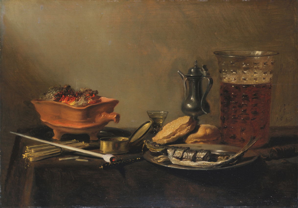 Pieter Claesz. Still-life with a glass of beer, herring and pipe