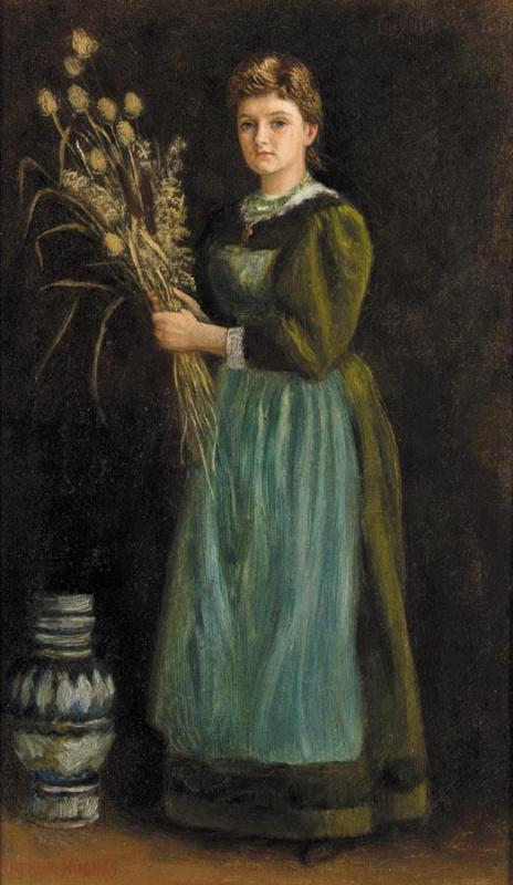 Артур Хьюз. Женщина в зеленом платье
