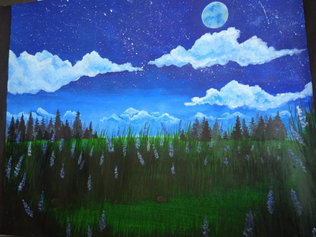 Луна, Лунная ночь, Ночной лес, Олень