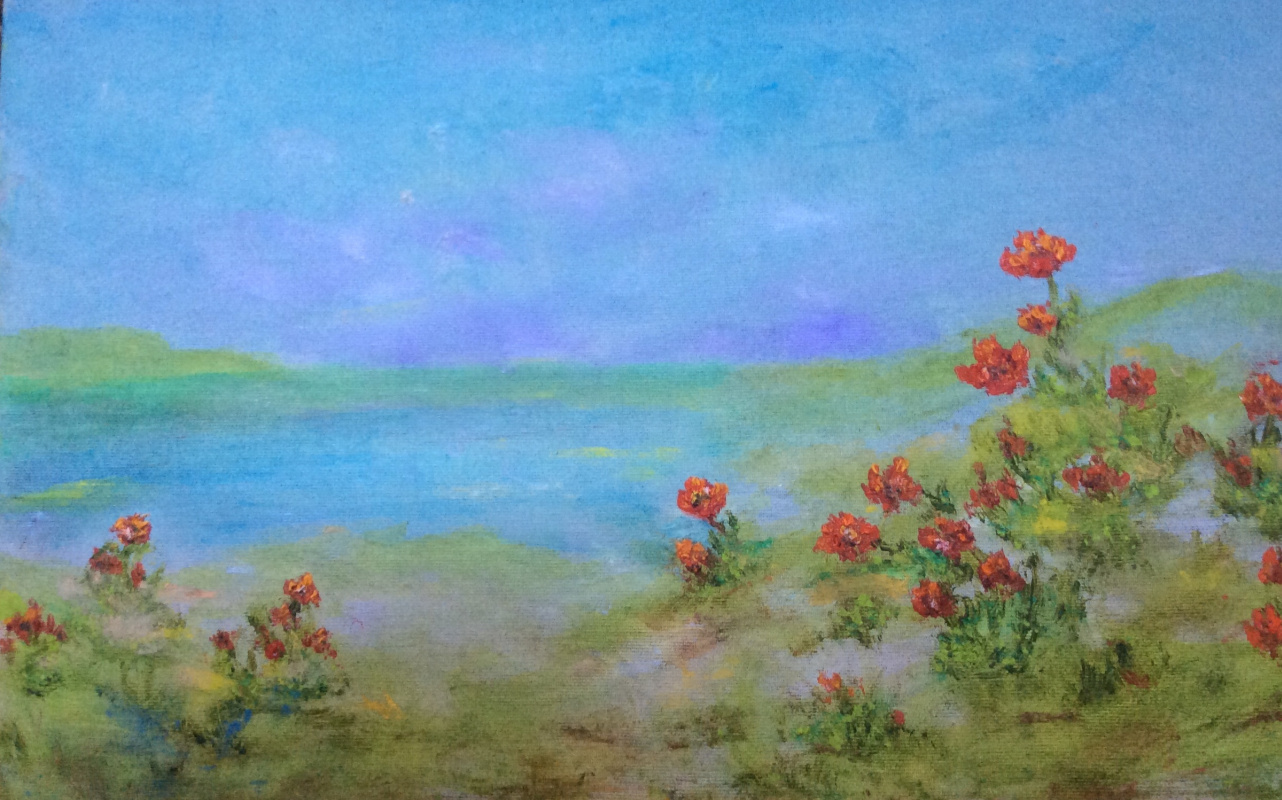 Рита Аркадьевна Бекман. Цветут анемоны на берегу Средиземного моря