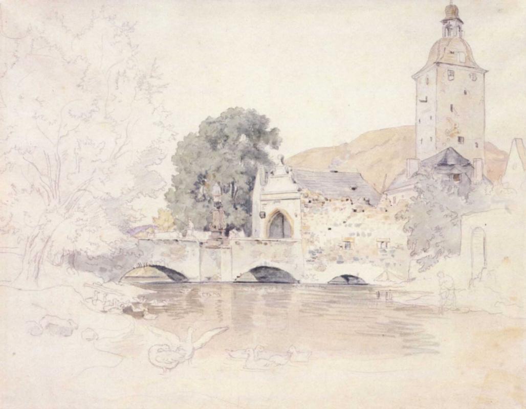 Адриан Людвиг Рихтер. Мост, ворота и башня замка Билин под Теплицем