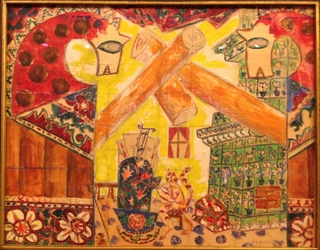 "Mikhail Larionov. Sketch of scenery ""Russian fairy tales"", the production of ""Kikimora"""