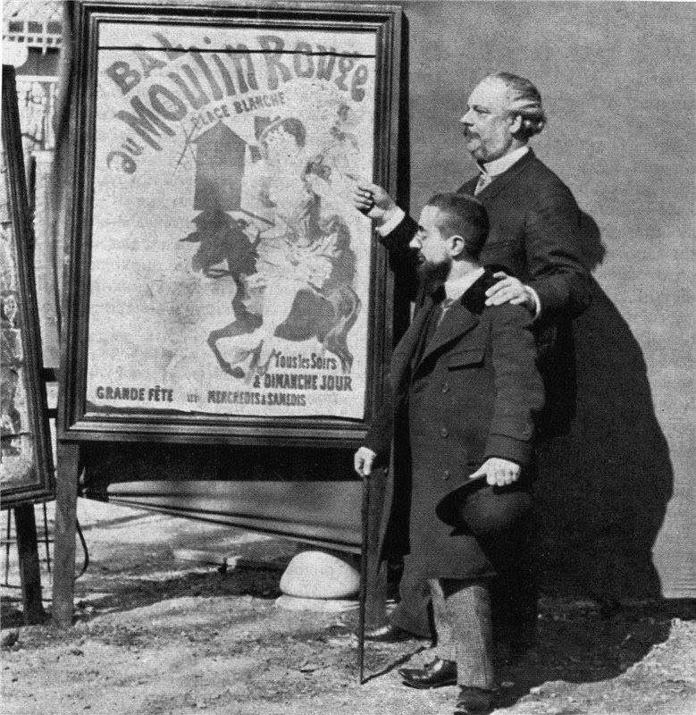"Historical photos. Clerk of the Moulin Rouge and Henri Toulouse-Lautrec at the poster of Jules Scheret ""Ball in the Moulin Rouge"""