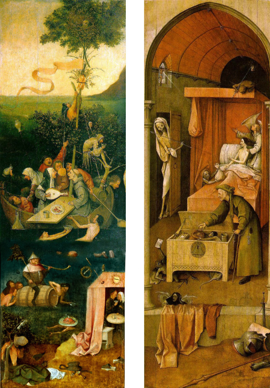 """Hieronymus Bosch. Reconstruction of the lost triptych """"Seven Deadly Sins"""": Ship of Fools (upper two thirds of the left panel), Allegory of Gluttony and Lust (lower part of the left panel) and Death of the Miser (right panel)"""