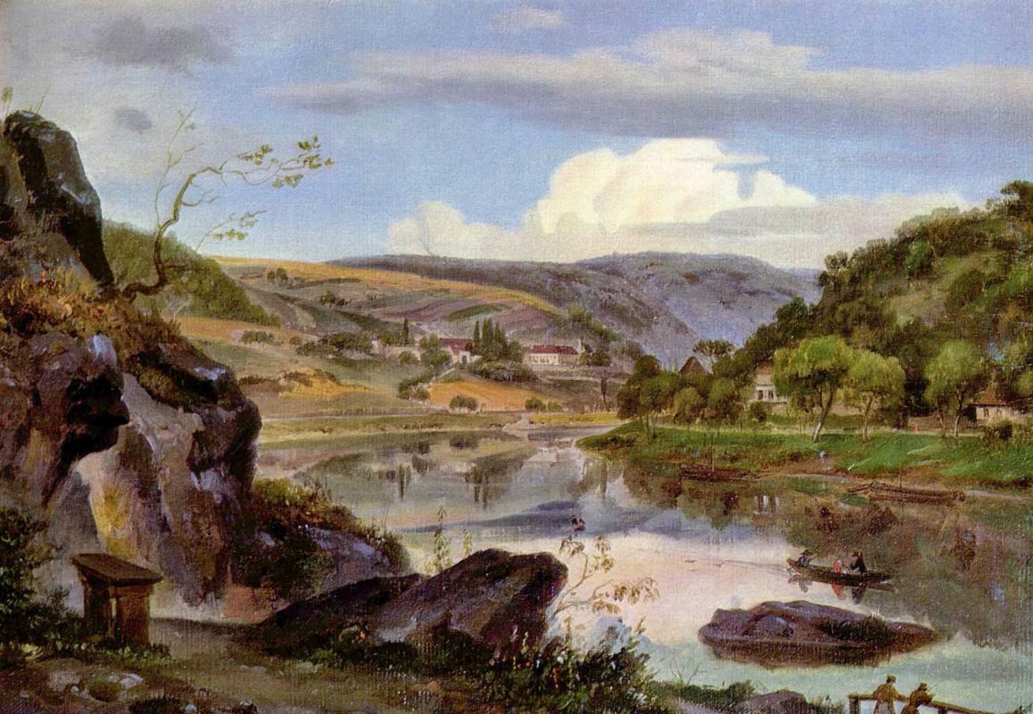 Эрнст Фриез. Вид на Нойбургский монастырь и долину Некара