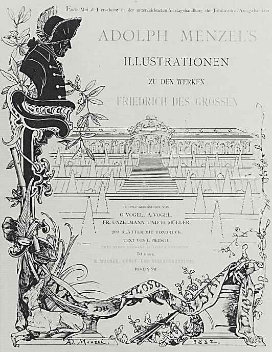 "Adolf Friedrich Erdmann von Menzel. Avenue anniversary edition of illustrations to the book ""the deeds of Frederick the Great"""