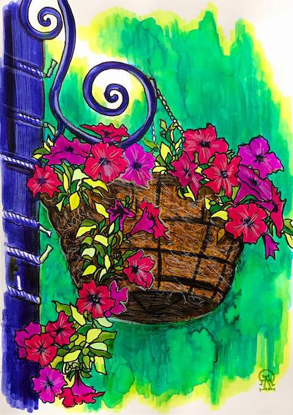 Larissa Lukaneva. Hanging pot. Sketch.