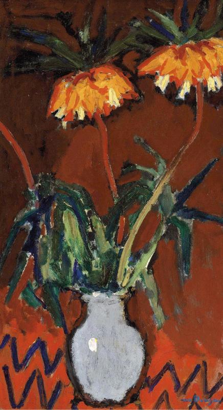 Кес Ван Донген. Цветы в голубой вазе