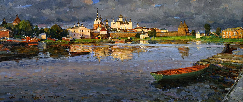 Alexander Shevelyov. Solovki.Monastery.D.In.P.oil 31 x 73.5 cm 2017