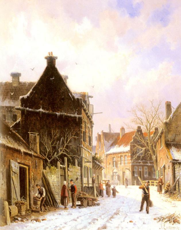 Адрианус Эверсен. Деревенская улица зимой