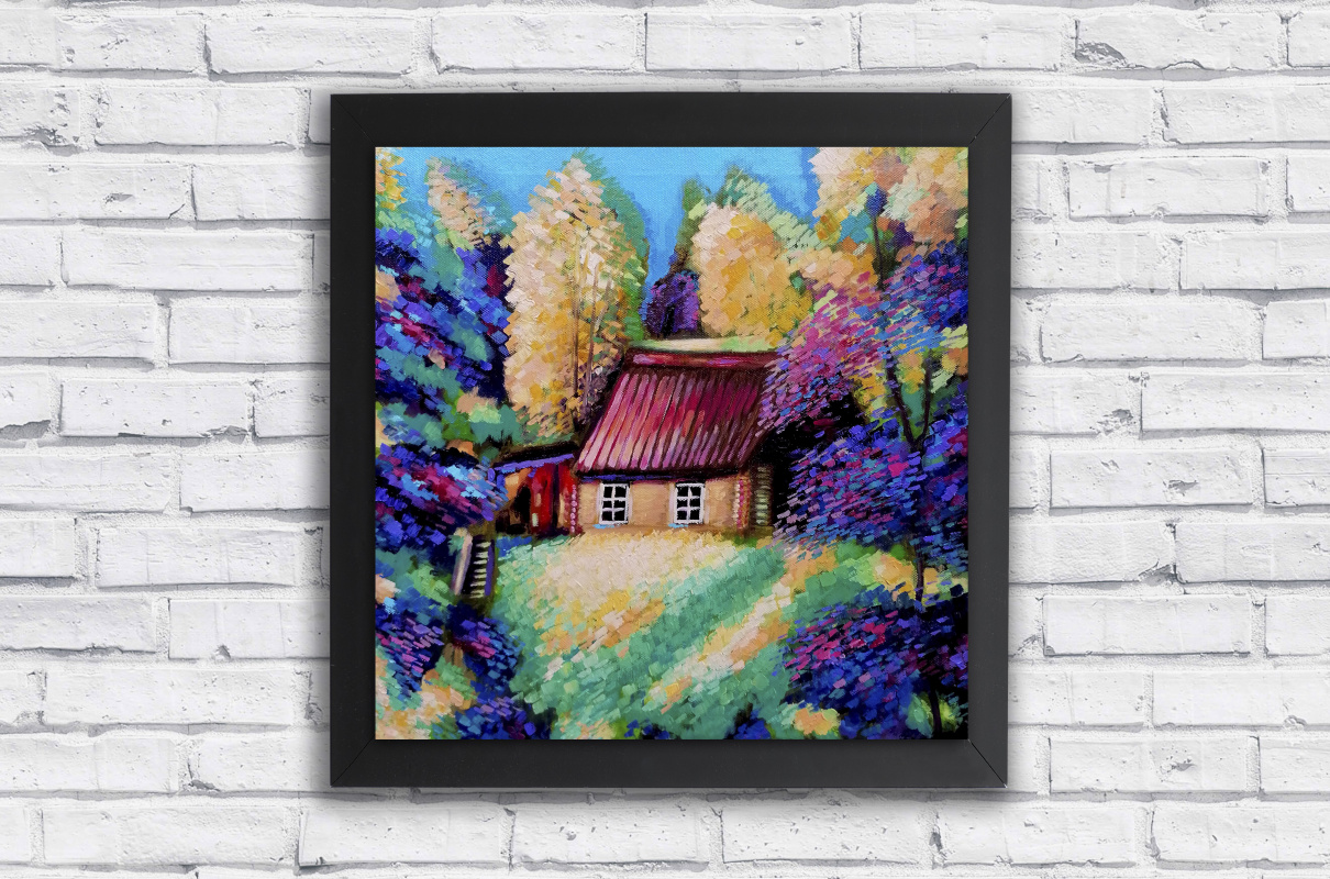 House on a hill in a sunny forest