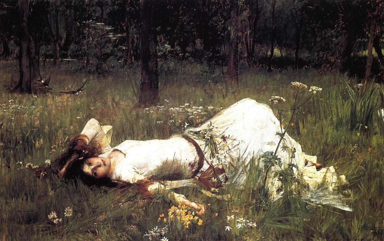 John William Waterhouse. Ofelia, lying on the grass