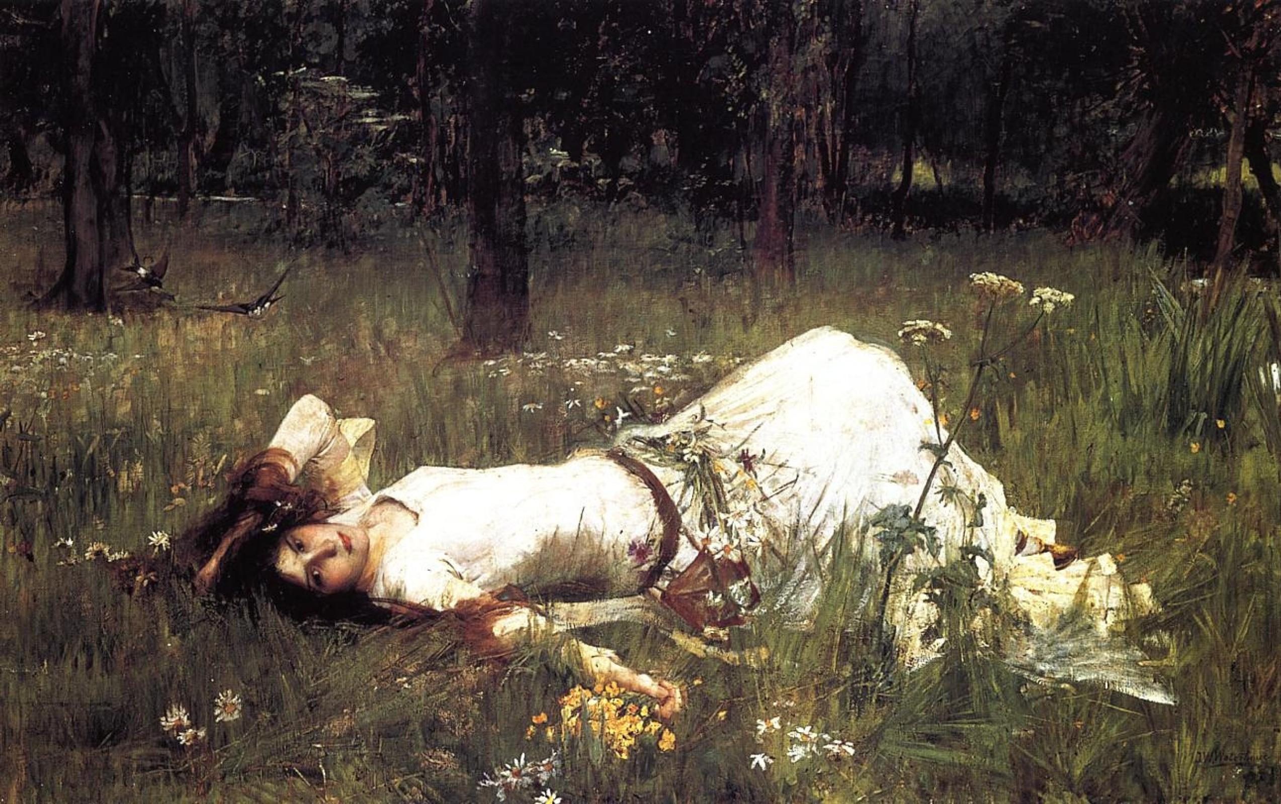 Джон Уильям Уотерхаус. Офелия, лежащая на траве