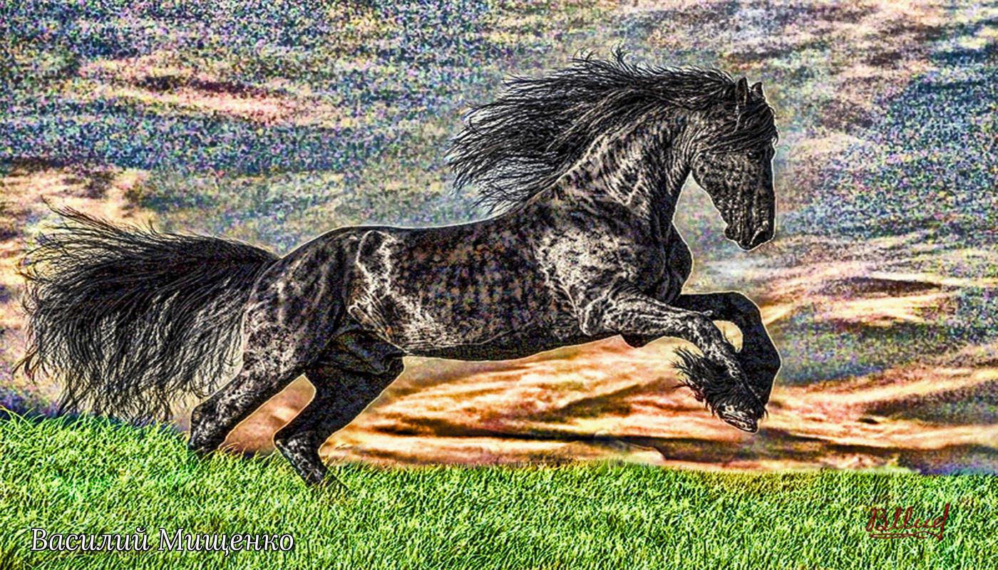 Vasiliy Mishchenko. Пятнистый конь на фоне заката