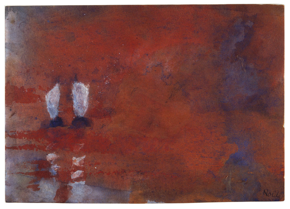 Emil Nolde. Landscape with two sailing boats. (Sultry night)