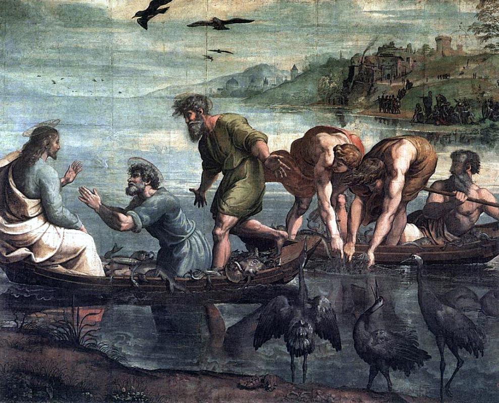 Рафаэль Санти. Чудесный улов рыб