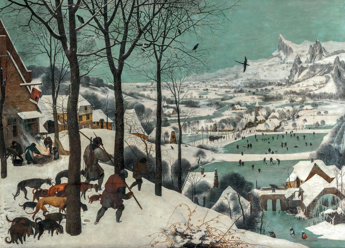 """Питер Брейгель Старший. Охотники на снегу. Цикл """"Времена года"""", январь"""