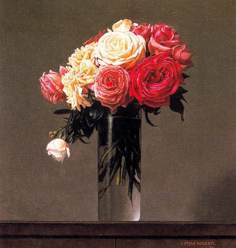 Стоун Робертс. Цветы в стеклянной вазе