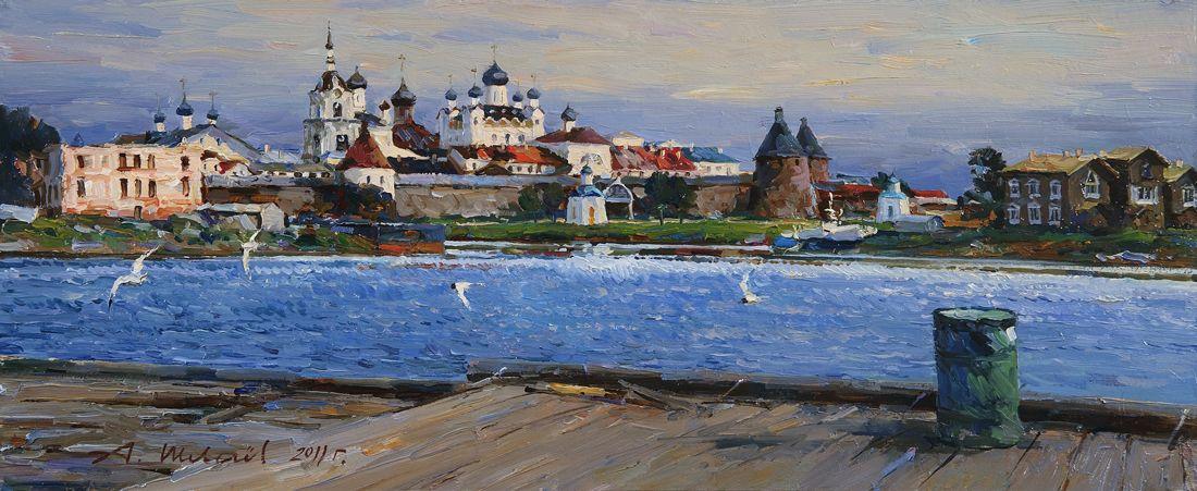 Alexander Shevelyov. Solovki.The monastery from Heta.Hardboard,oil of 24.8 # 60,9 cm 2011