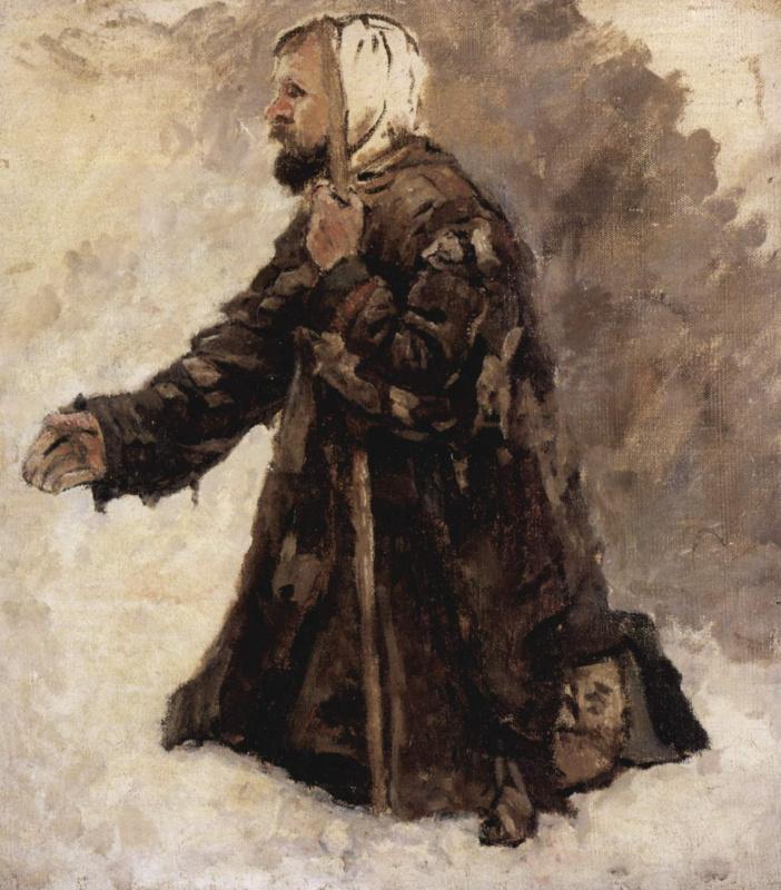 Василий Иванович Суриков. Юродивый на коленях