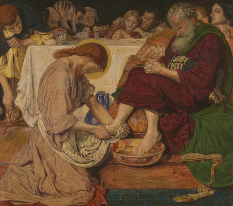 Форд Мэдокс Браун. Иисус омывает ноги Петру (акварель). Фрагмент