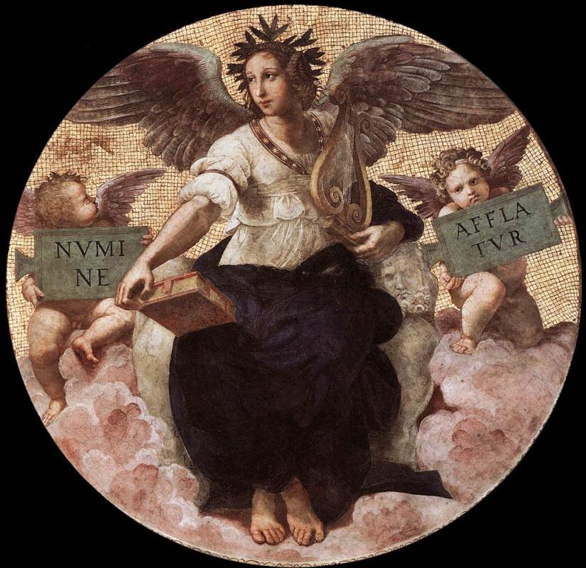 Рафаэль Санти. Станца делла Сеньятура. Роспись потолка. Фрагмент: Поэзия
