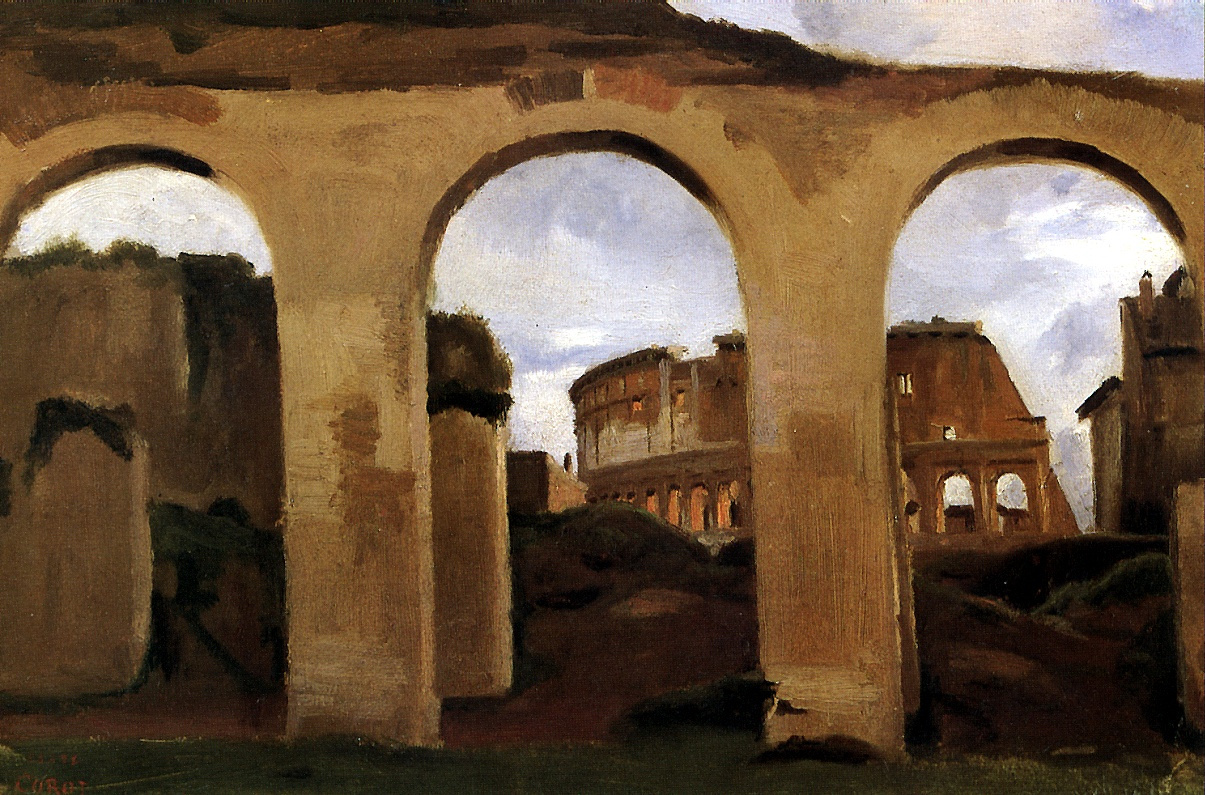 Камиль Коро. Вид Колизея сквозь аркаду базилики Константина