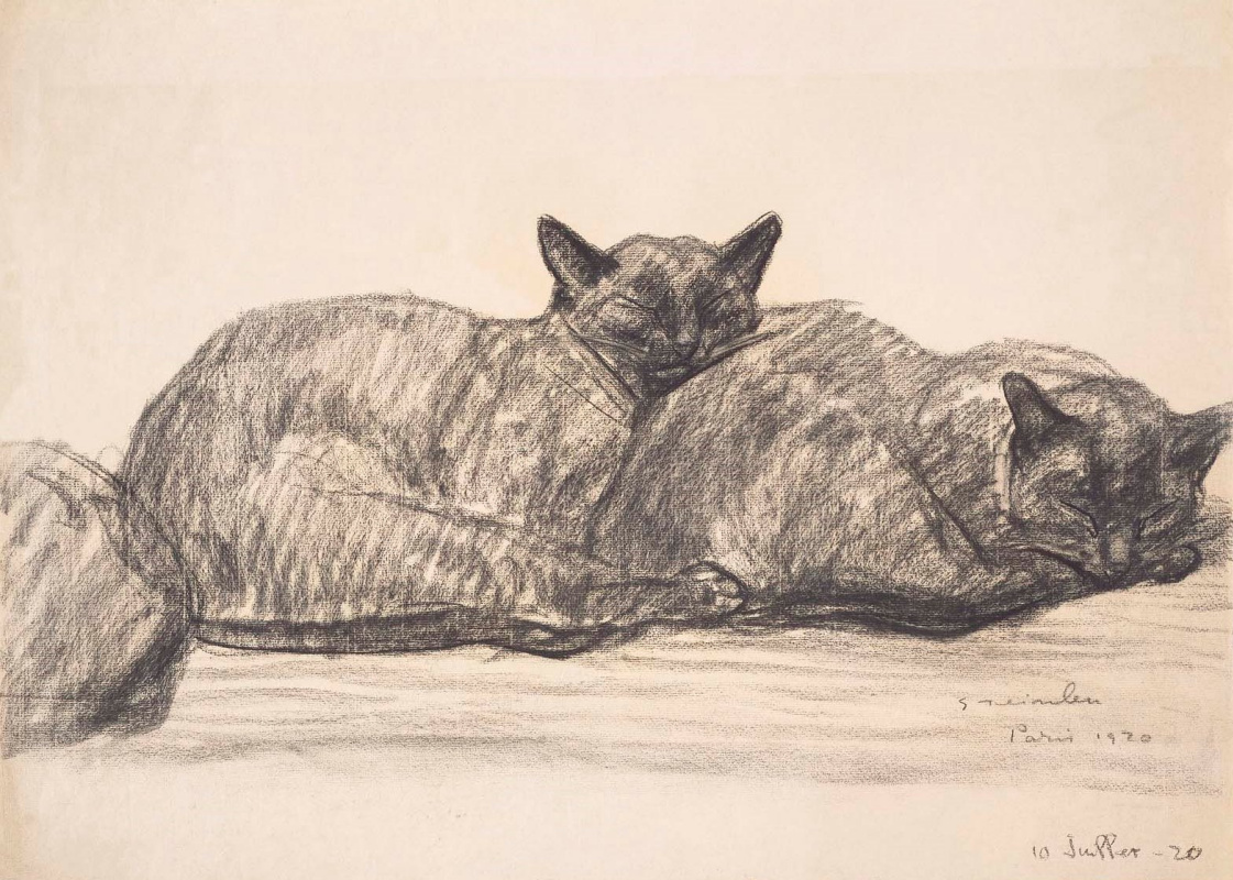 Theophile-Alexander Steinlen. Two sleeping cats