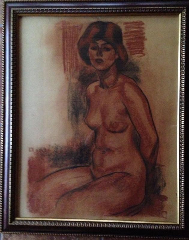 """""""Обнаженная сидящая с руками назад"""",1979 г., финский картон/ пастель, 70х55"""